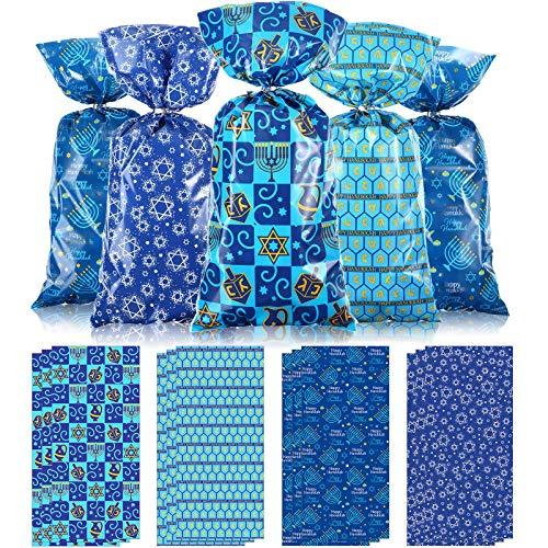 100 Bolsas de Regalo de Fiestas de Hanukkah 2020, Bolsas de Regalo de Dulces con Tema Festivo Judío Azul Hanukkah Bolsas de Regalo de Plástico Transparente de Celofán con 100 Lazos de Plata Trenzados