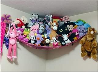 Powkoo Jumbo Toy Hammock Stuffed Toys Storage Hammock Net Organizer for Stuffed Animals, Teddies, Nursery Play(72 x 48 x 48 inches) (Pink)