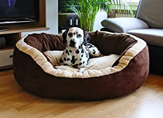 Fluffy's Luxurious Polyester Filled Soft Dual Colour Dog/Cat Bed, (XXL, Brown)