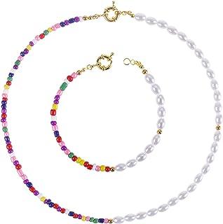 NL Sky Pearl Bead Choker Necklace Bracelet Set for Women Girls Jewelry…