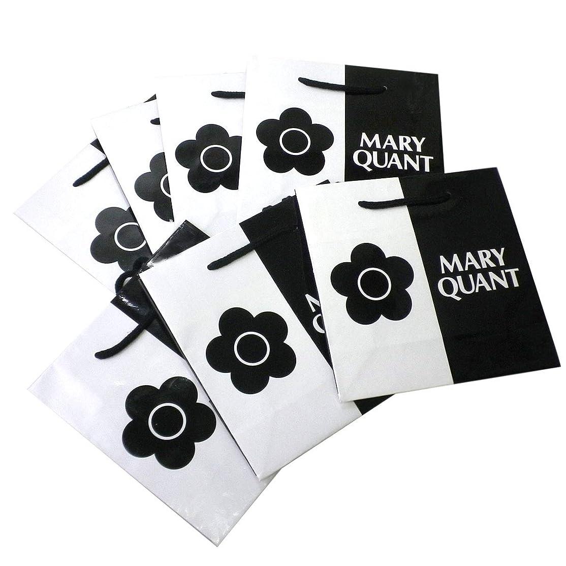 相関する礼儀にぎやか(マリークワント) MARY QUANT 紙袋 ショップバッグ ミニ 小さめ ショッピングバッグ ロゴ 鞄 カバン SET セット ショッパー デイジー花 花柄 フラワー 黒 ブラック 白 ホワイト モノトーン