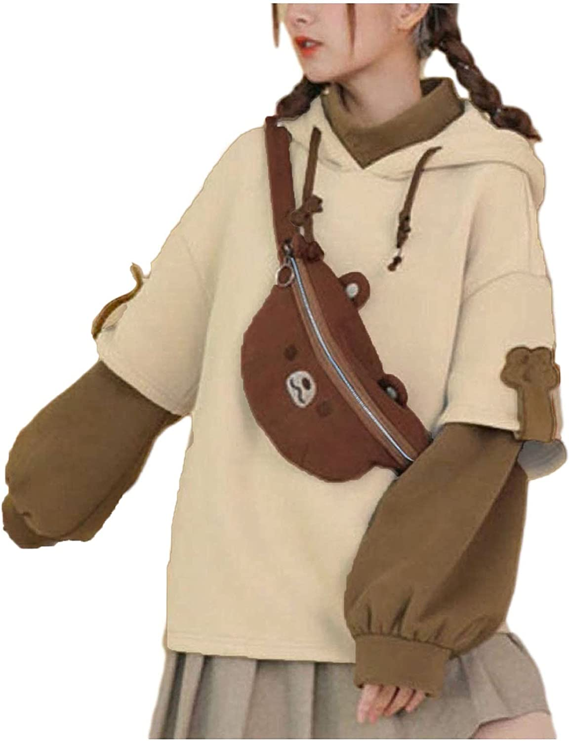 BOXIACEY Woman's Brown Bear Hoodies Autumn Winter Long Sleeve Sweatshirt Matching Personality Bag Hooded Pullover