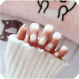 24 Pcs Cute Girls Egg Short False Nails Kawaii Transparent Fake Nails Fashion Simple With Glue Sticker