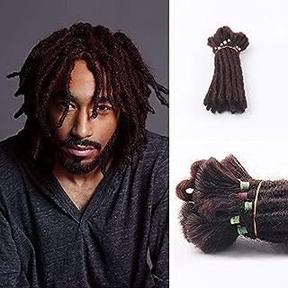 DSOAR 6 inch Dreadlocks Extensions For Men Handmade Synthetic Dreads Short Hip-hop Locs Reggae Braiding Hair For Men 20 Strands/pack (4#,Dark Brown)