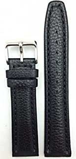 20mm Black Genuine Leather Watch Band | Shrunken Grain, Matte, Medium Padded Replacement Wrist Strap That Brings New Life to Any Watch (Mens Standard Length)