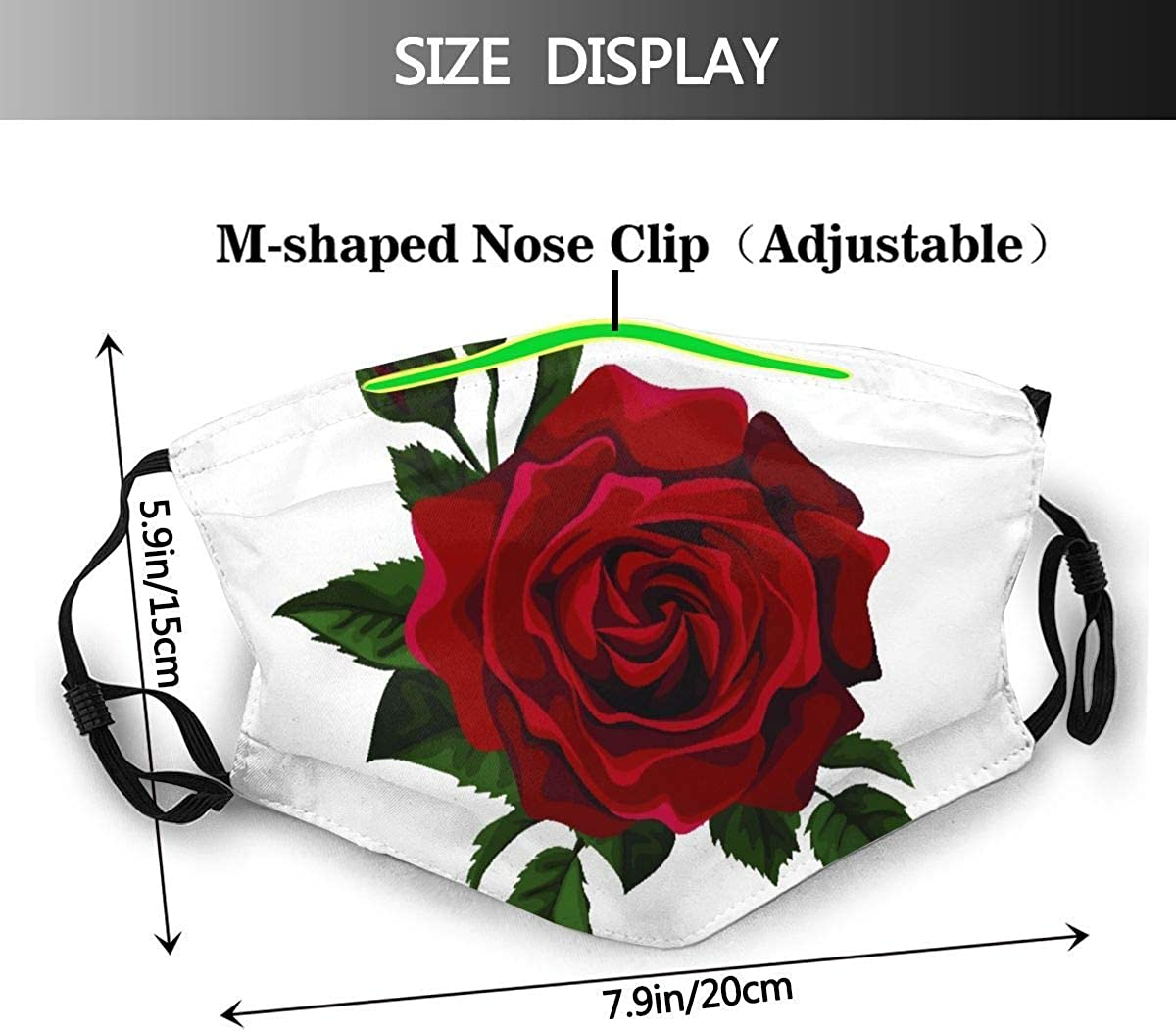 Face Cover Red Rose Isolated On White with Leaves Balaclava Unisex Reusable Windproof for Teen Men Women