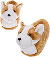 Silver Lilly LED Light Up Corgi Slippers - Novelty Dog Animal House Shoes w/Foam Support
