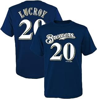 Outerstuff Jonathan Lucroy MLB Milwaukee Brewers Navy Jersey T-Shirt Boys Youth (XS-2XL)