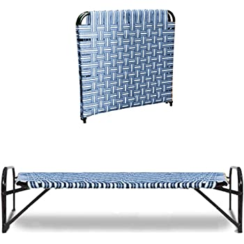 South Whales Single Folding Platform Bed | Portable Bed for Sleeping | Beds for Guest | Camp Bed | Tool-Free Assembled | Under-Bed Storage - Random Color (Niwar Bed)