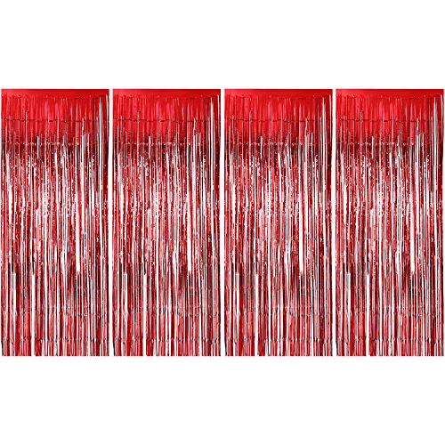 4 Packung Folie Vorhänge Metallic Fringe Vorhänge Schimmer Vorhang für Geburtstag Hochzeit Weihnachten Schmuck (Rot)