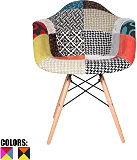 2xhome Upholstered Mid Century Modern Fabric Dining Arm Chair with Natural Wood Legs, Patchwork S Fabric