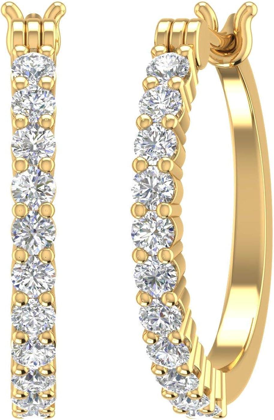 1/4 Carat to 3/4 Carat Natural Diamond Hoop Earrings in 10K Gold