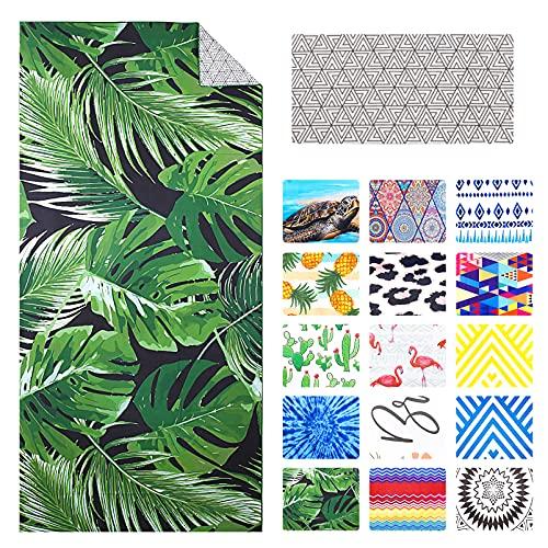 Mikrofaser Strandtuch Palm Hawaiian Tropical Partner Familie Groß 183 x 86 cm, XXL Sandabweisendes Schnelltrocknend Strandtücher Leicht, Grün Handtuch Strand, Erwachsene Reise Beach Towel Männer Damen