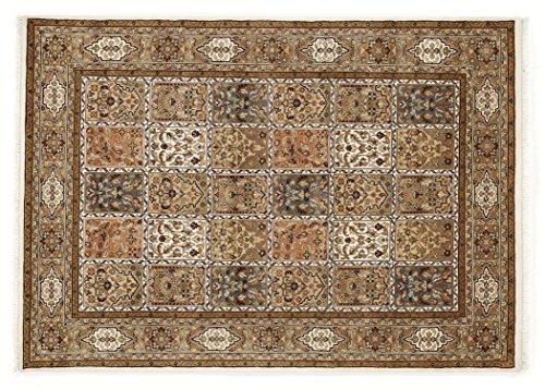 BADOHI BAKTHYARI echter klassischer Orient-Felder-Teppich handgeknüpft in creme-creme, Größe:...