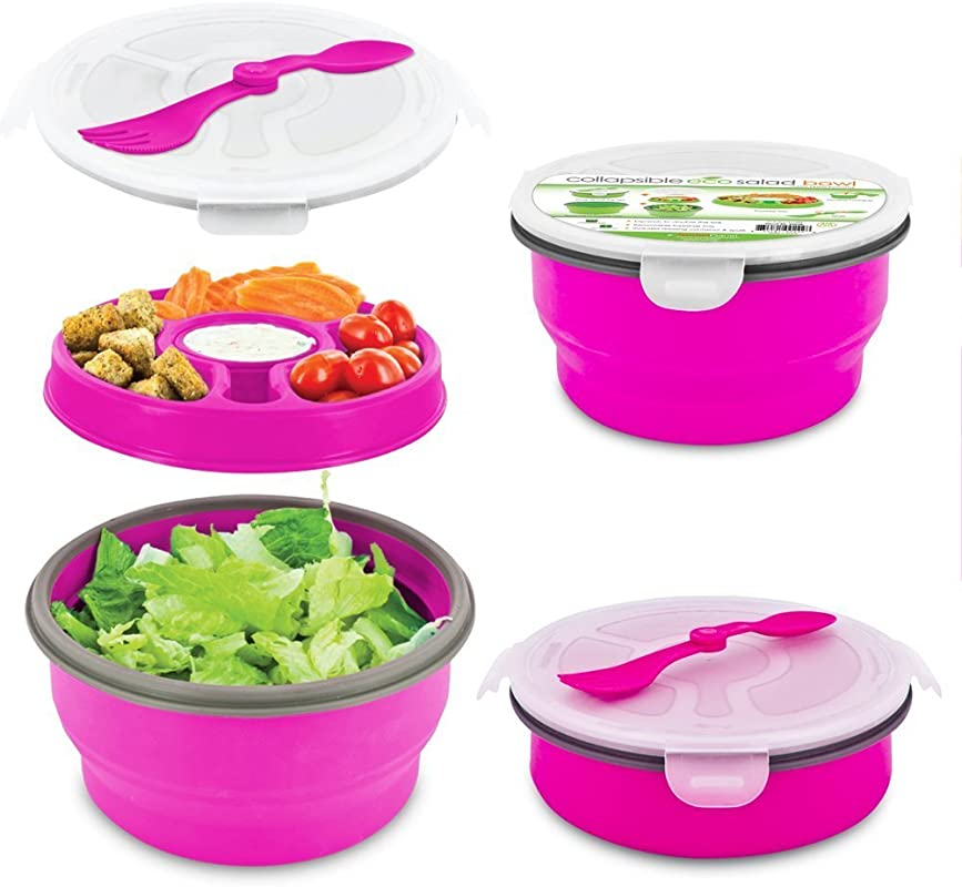 Smart Planet Eco Collapsible Salad Bowl 64 Oz Pink