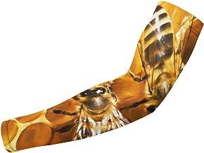 BJAMAJ Bijen Honingraat UV-bescherming Koelarm Mouwen Arm Cover Zonbescherming Voor Mannen & Vrouwen Jeugd Prestaties Stre...