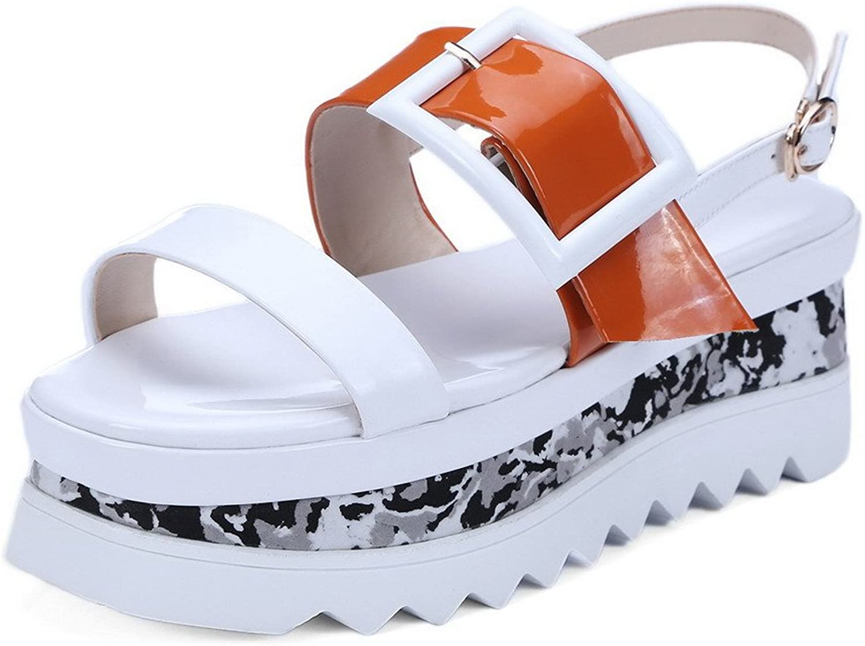 AmoonyFashion Women's Cow Leather Assorted color Buckle Open-Toe Kitten-Heels Sandals