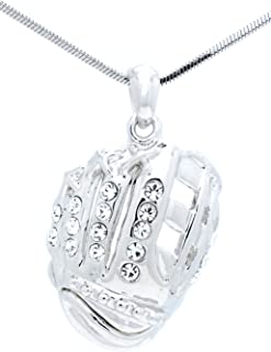 Violet Victoria & Fan Star Jewelry Softball Glove Necklace - Baseball Glove Necklace - Glove Pendant