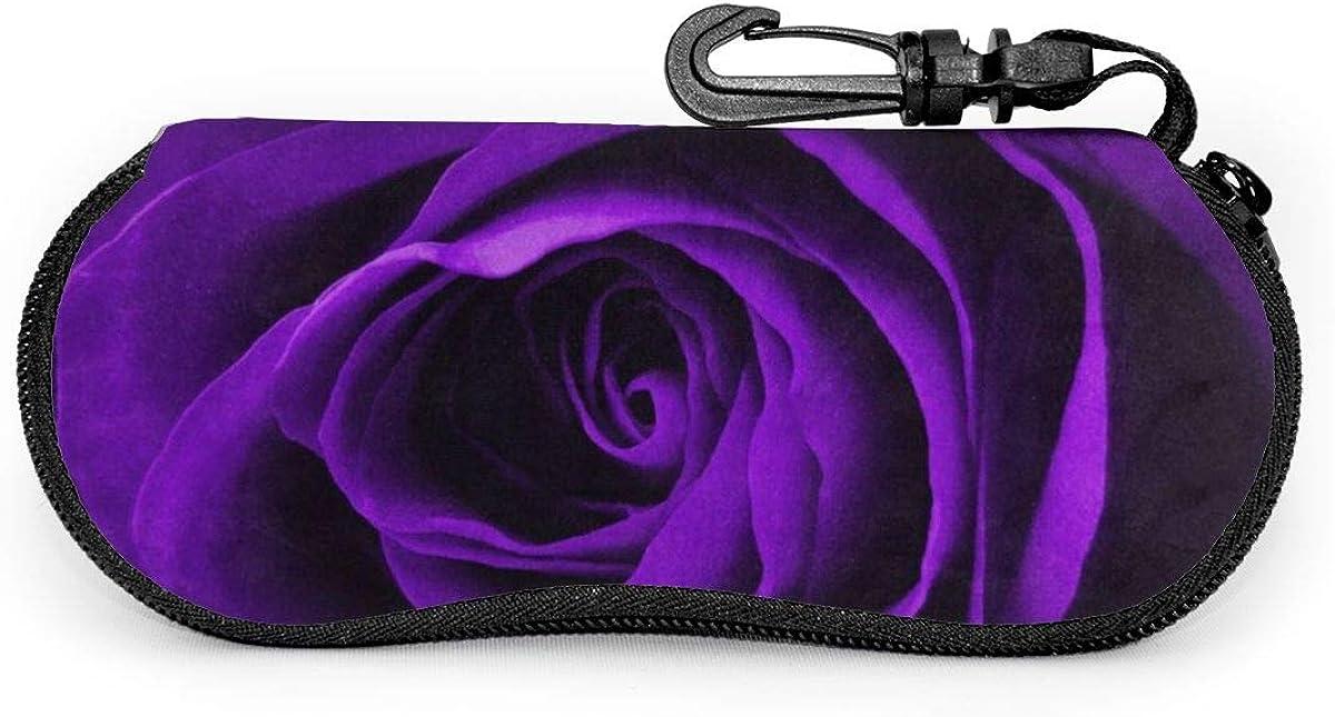 Purple Floral Rose Glasses Case Unisex Eyeglasses Protective Case Zipper Eyeglass Box With Key Chain Universal Fits