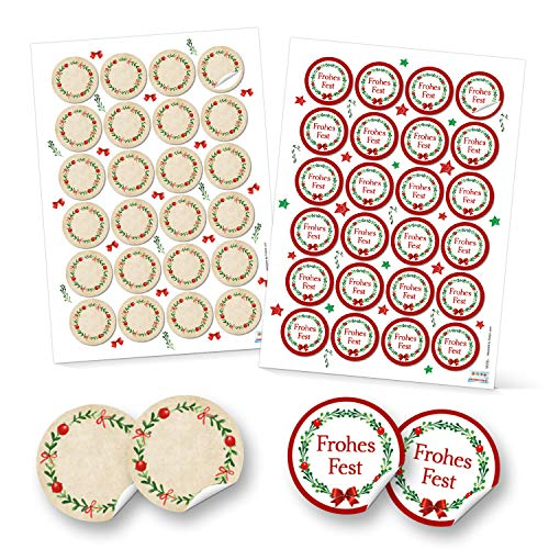 SET 2 x 24 runde Aufkleber Weihnachten rot grün natur weiß beige FROHES FEST + Blanko Etiketten weihnachtliche Verpackung