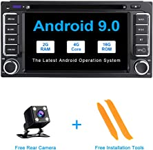 TOOPAI Android 9.0 Car Radio for Toyota Land Cruiser 100 200 Prado 120 150 Rush Corolla Hiace Yaris Hilux Stereo GPS Navigation Car Media Player Double Din Head Unit Support WiFi Full RCA Output SWC