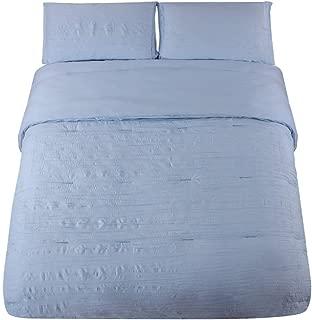 HONEYMOON HOME FASHIONS Seersucker Queen Comforter Set Bedding 3PC, Spa Blue