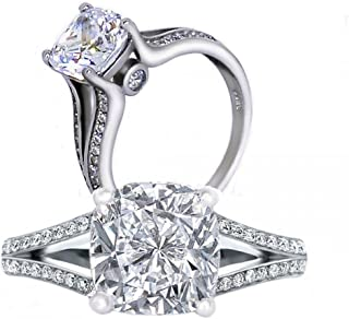 Diamonbella 101 Facets 2 Carats Realistic Princess Cushion Cut NSCD Simulated Diamond Solitaire Split Shank Ring 925 Silver Platinum Plated