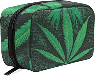 Unicey Words Marijuana Weed Makeup Bags Portable Tote Cosmetics Bag Travel Cosmetic Organizer Toiletry Bag Make-up Cases f...