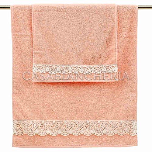 Paire serviettes Gabel Beatrice avec pizzo-rosa