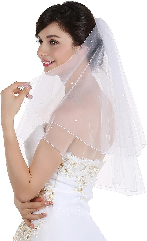 2T 2 Tier Pencil Edge Scattered Rhinestone Bridal Wedding Veil