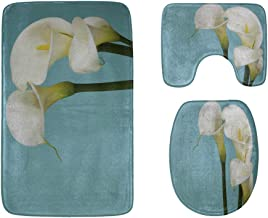 Beautiful Bouquet of Calla Lilies Bathroom Rug Mats Set 3-Piece,Soft Shower Bath Rugs,Contour Mat and Toilet Seat Lid Cove...