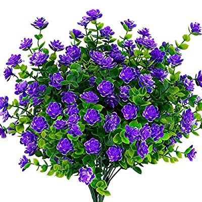 TEMCHY Artificial Flowers, Fake Outdoor UV Resistant Boxwood Shrubs Faux Plastic Greenery Plants for Outside Hanging Planter Patio Yard Wedding Indoor Home Kitchen Farmhouse Decor(Purple)