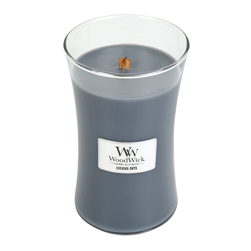 進化フィット先例WoodWick EVENING ONYX, Highly Scented Candle, Classic Hourglass Jar, Large 18cm, 640ml