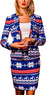 〓COOlCCI〓Christmas Suits for Women in Different Prints - Ugly Xmas Sweater Costumes Include Blazer and Skirt,Dress Suit