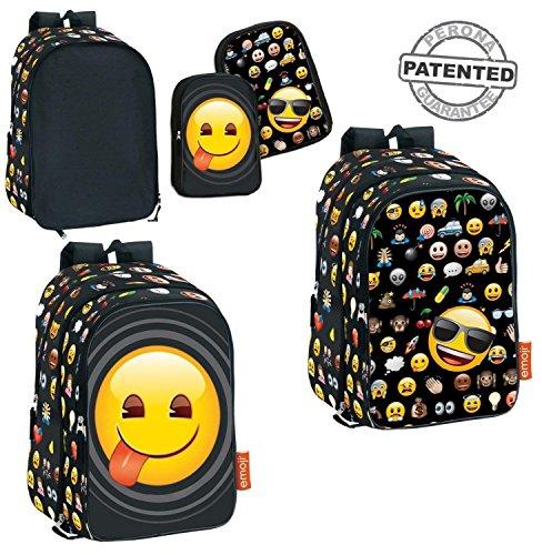 Montichelvo 52647 - Mochila con tema Emoji, con bolsillos intercambiables
