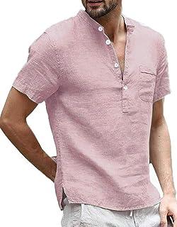 Mens Linen T Shirt Summer Tops Henley Shirt Short Sleeve Banded Collar Casual Shirt with Pocket Regular Fit Tee Shirts