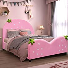Costzon Toddler Bed, Children Upholstered Twin Bed, Kids Bed with Soft Texture & Adjustable Non-Slip Feet for Kids Boys & Girls, Children Classic Sleeping Bedroom Furniture (Light Pink)