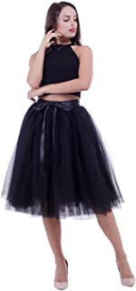Women Tulle Skirt Adult 7 Layered Pleated Tutu Skirt A Line Knee Length Petticoat Girl Prom Party Skirt