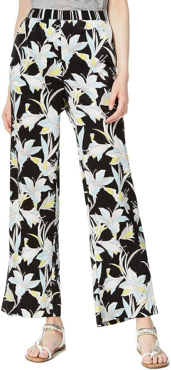 Bar III Womens Contrast Waist Floral Wide Leg Pants