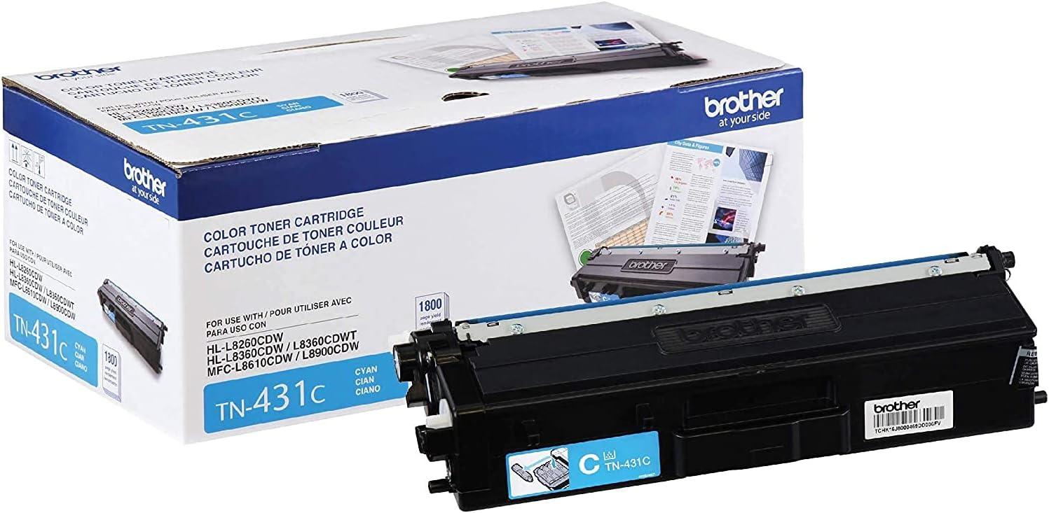 Brother Printer TN431C Standard Yield Toner-Retail Packaging, Cyan, Pack of 4