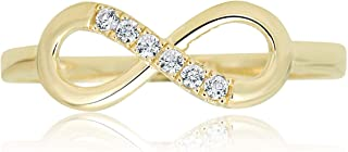 AVORA 10K Yellow Gold Simulated Diamond CZ Infinity Fashion Ring