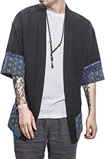 PERDONTOO Men`s Cotton Blends Linen Loose Kimono Cardigan Capes