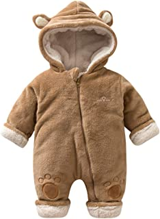 Mumustar Newborn Infant Baby Snowsuit Flannel Bear One Piece Romper Playsuit Jumpsuit Soft Pyjamas Outfits