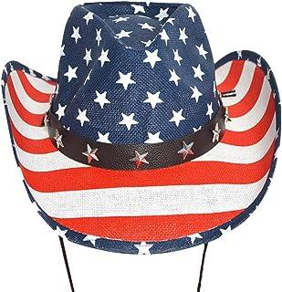 Amosfun Cappello da Cowboy con Bandiera Americana Cappello da Cowboy con Visiera Classica per Personaggi Famosi