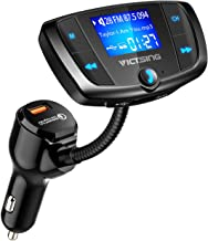 VicTsing (Upgraded Version) Bluetooth FM Transmitter, Wireless Radio Adapter Hands-Free Car Kit with 1.7 Inch Display, QC3.0 and Power On/Off Switch, Dual USB Ports, U Disk, TF Card MP3 Player