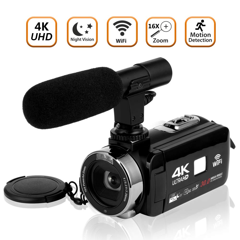 Amazon Com Video Camera Camcorder 4k Ultra Hd Digital Camera Wifi Video Camcorder 3 0 Inch Touch Screen Night Vision Vlogging Camera With External Microphone Electronics