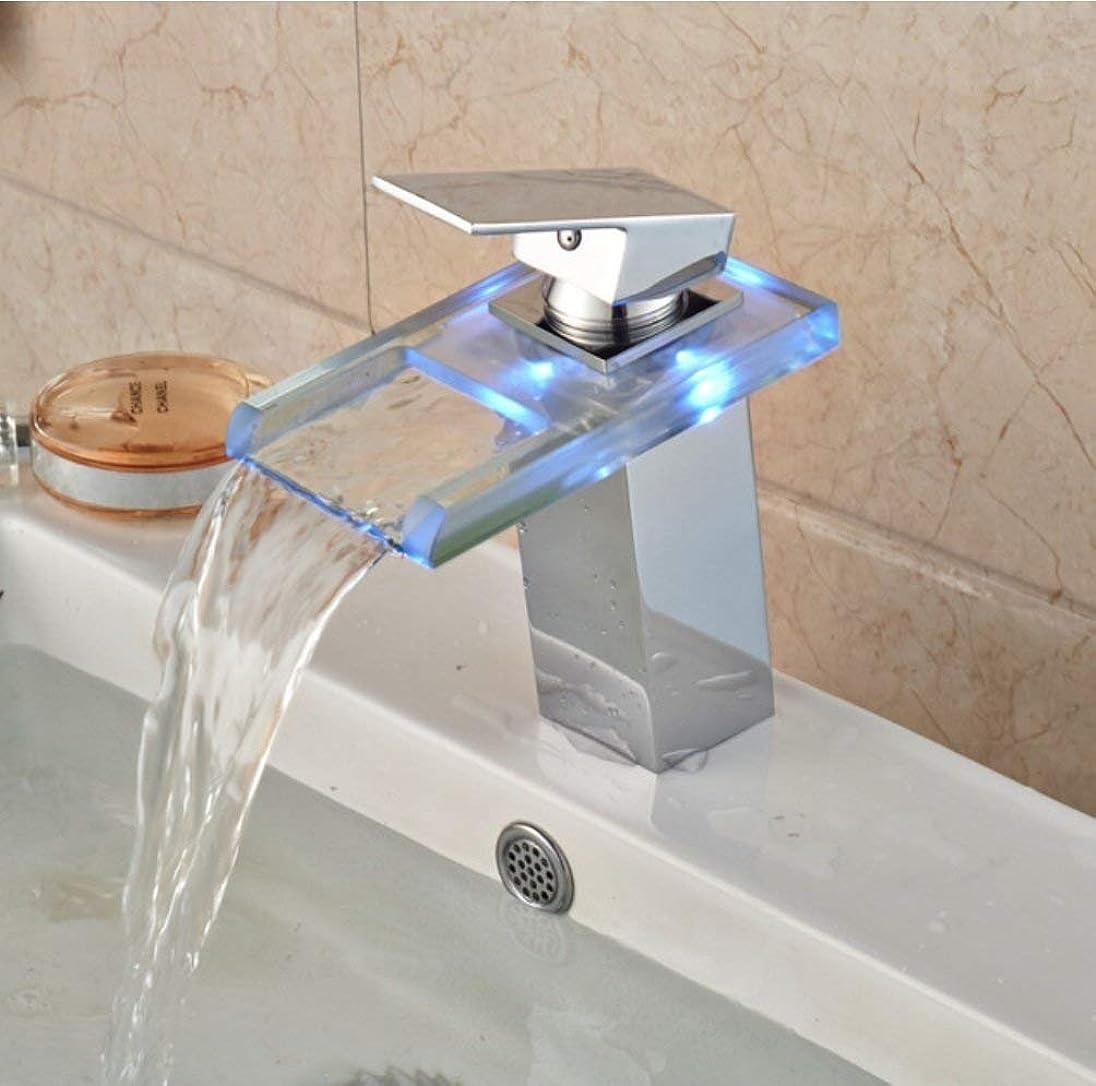 ハロウィン海藻に負ける浴室の流しの蛇口LEDガラスの滝の洗面器の蛇口、真鍮の単一のハンドルの熱く、冷たい水ミキサーが付いている浴室のためのガラスのコック