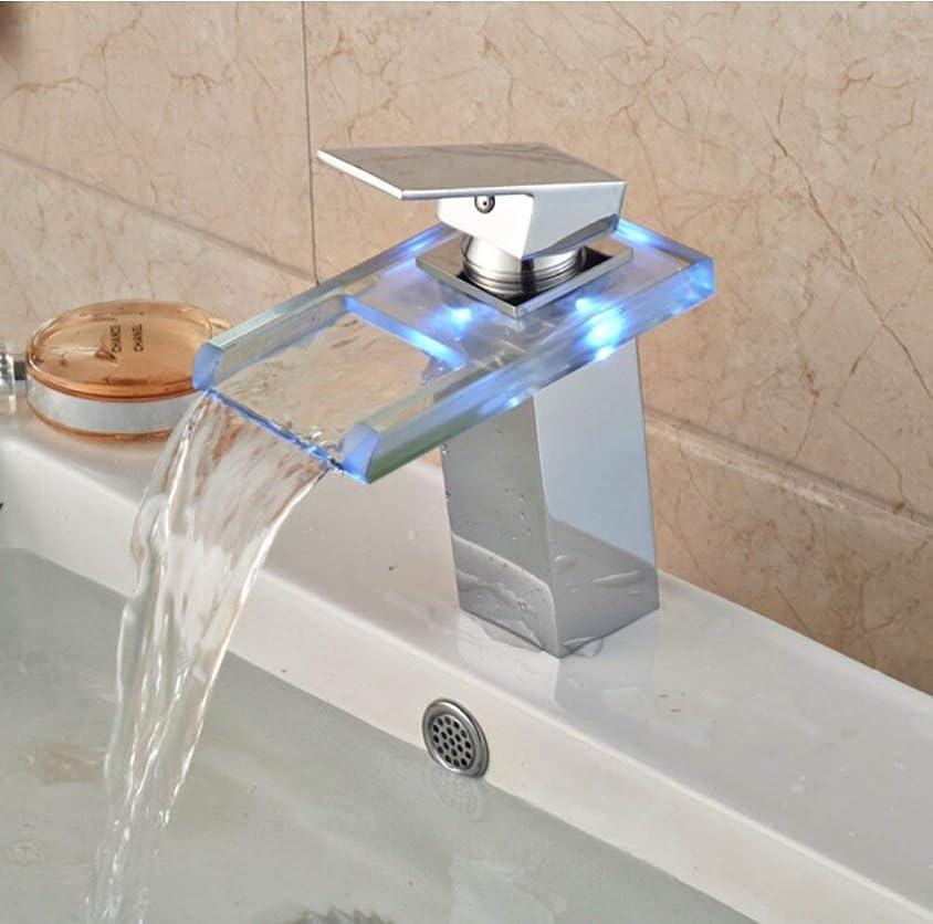 シチリア機械的リズミカルな浴室の流しの蛇口LEDガラスの滝の洗面器の蛇口、真鍮の単一のハンドルの熱く、冷たい水ミキサーが付いている浴室のためのガラスのコック