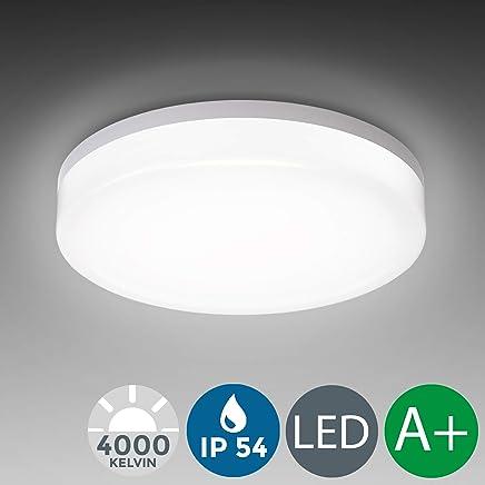 LED Deckenleuchte, wasserfest, IP54 inkl. 13W 1600lm LED Platine, 4000K neutral weiss, 22cm Durchmesser, Badezimmer und Balkon geeignet