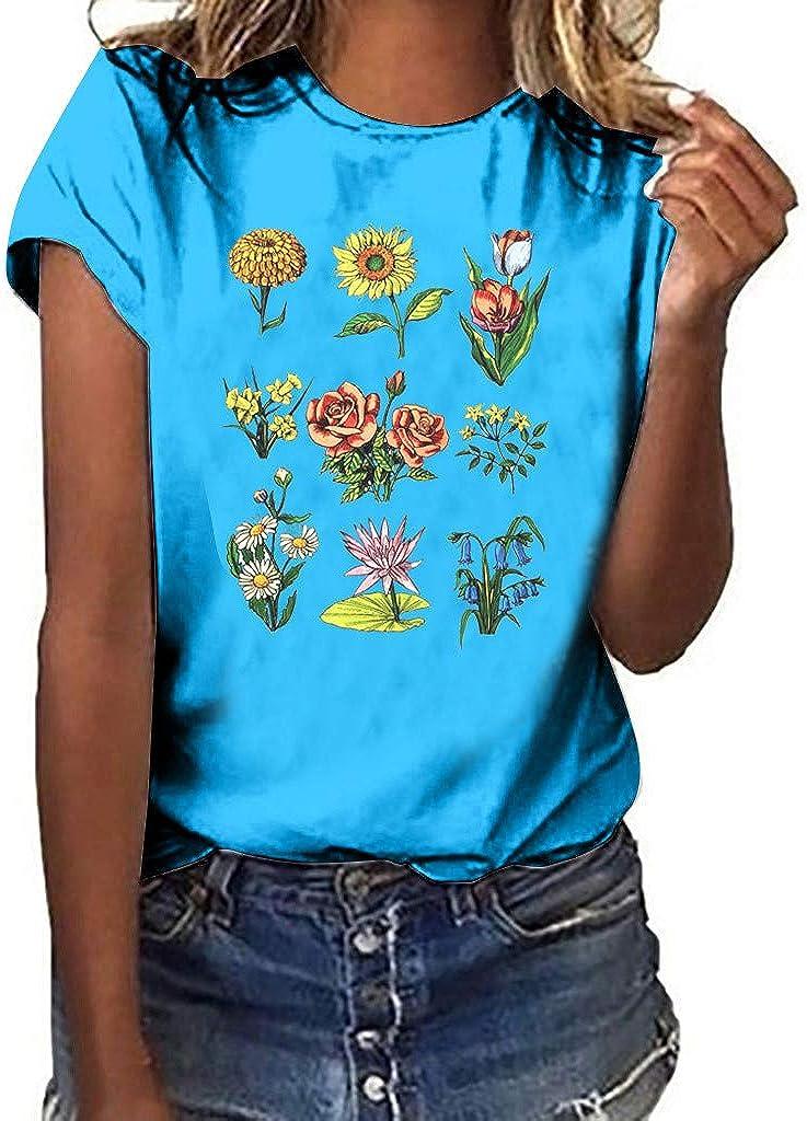 Tops - Camiseta de Manga Corta para Mujer, Talla Grande ...